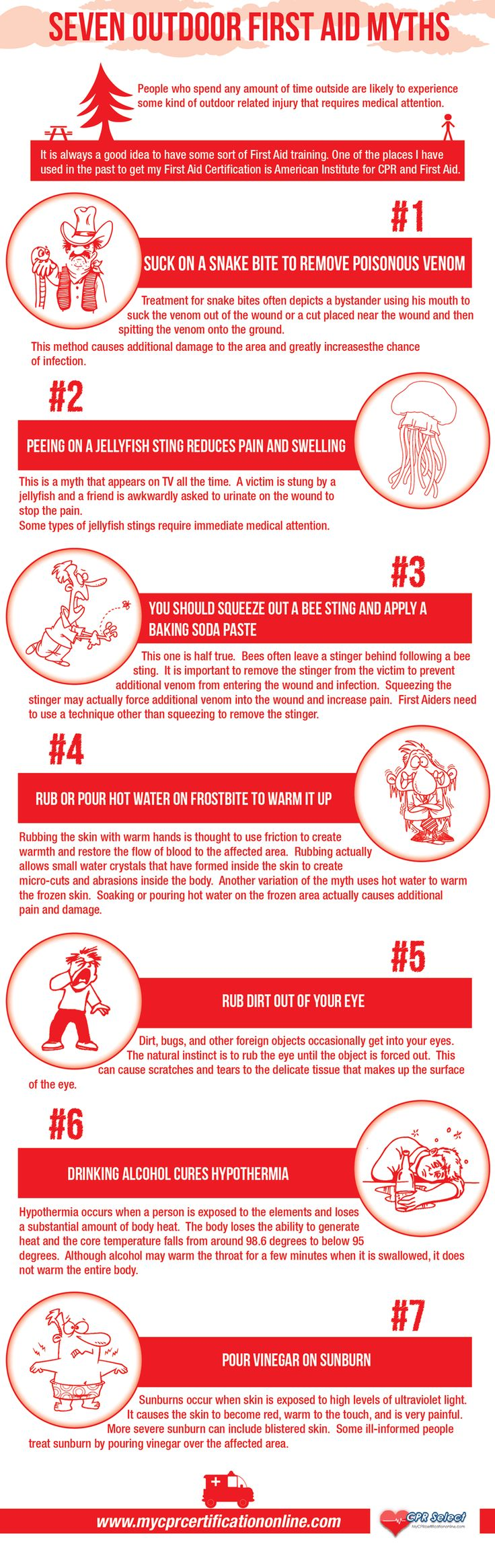 7 Outdoor First Aid Myths. Remember that people who spend time outdoors can experience injuries that might require medical attention, so it is always good to know basic first aid training. For example, for severe bleeding you might want to use an israeli bandage, we explain how to use it here: https://insidefirstaid.com/personal/first-aid-kit/what-is-and-how-to-use-israeli-bandage #survival #preparedness #prepping