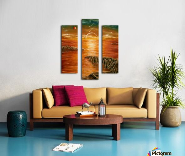 Triptych, sunset,painting,wall,art,coastal,scene,ocean,sky,beautiful,images,contemporary,modern,home,office,decor,impressive,artwork,for,sale,gold,golden,colorful,awesome,cool,artistic,multicolor,orange,brown,sea,water,planets,earth,cosmos,rocks,island,fantasylike,dreamlike,fine,oil,items,ideas,panels,stretched,split,canvas