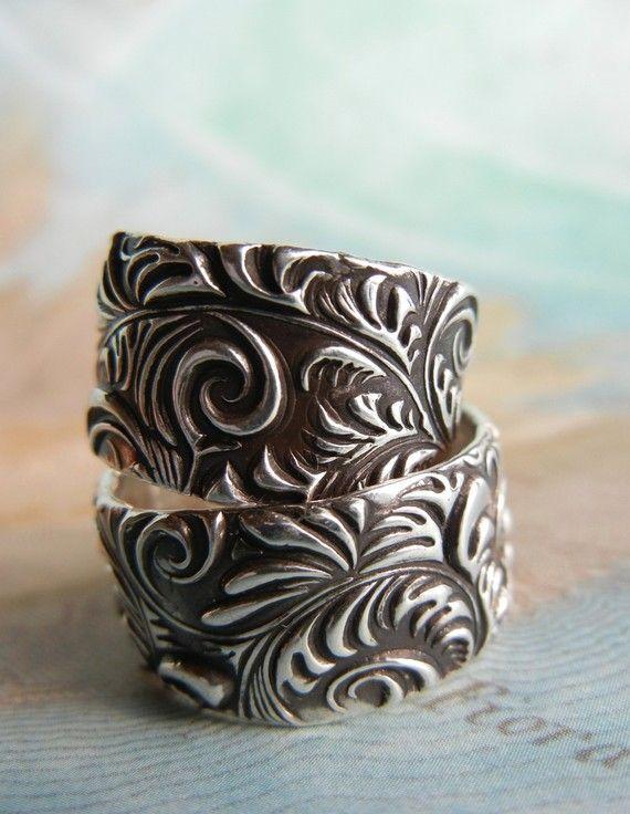 Custom Wedding Rings Handmade Silver Wedding Rings by HappyGoLicky