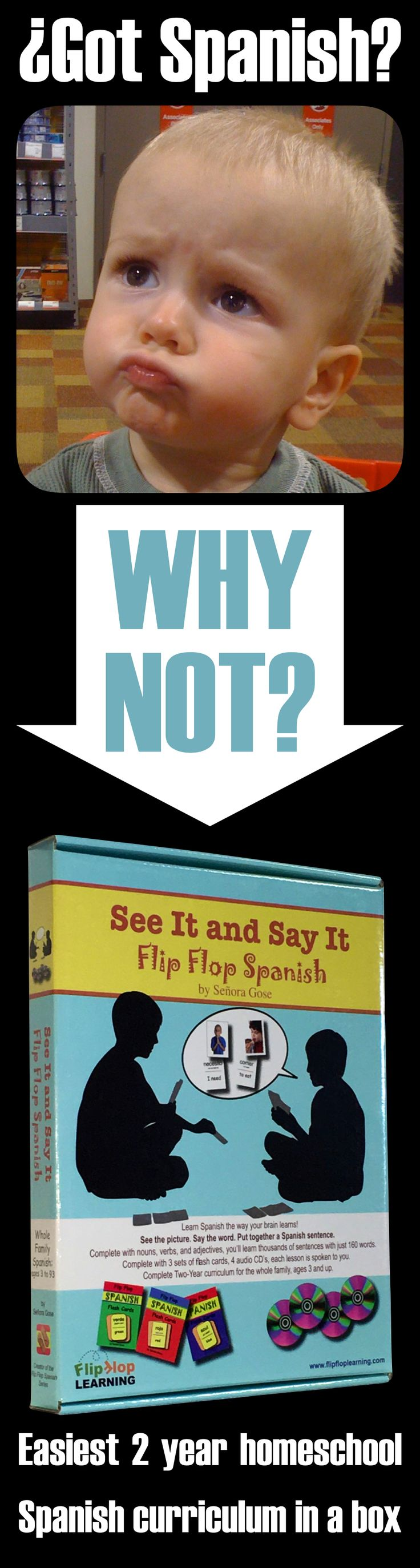 Why are you waiting to learn Spanish?  Start today with our two year Spanish curriculum in a box!  Teach your whole family at the same time with flash cards, charades, crosswords, word searches, skits, speed drills, drawing, and many more activities. Learn nouns, verbs, adjectives and thousands of Spanish sentences using only 160 words!  Comes complete with audio CDs to guide you along too!
