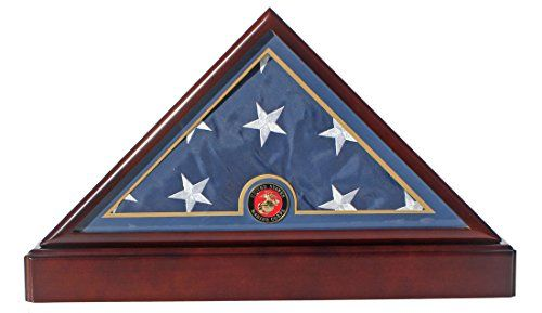 Honorable U.S. Marine FLAG DISPLAY CASE Military Shadow Box for 5'X9.5' Burial/Funeral/Casket Folded, FC79:   Triangle flag display case. Preserve and display a cherished flag in this handsome polished wood and glass triangle flag display case. The fine quality flag case would be an honor to display any flag. This flag case is fine in every detail. Please view all angles by click the small picture. This item is crafted only by our senior craftsmen with hand selected fine quality hardwo...
