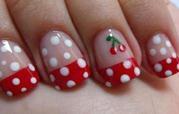 Uñas decoradas para niñas, unas decoradas para niñas cerezas.   #coloruñas #corunhas #uñaselegantes