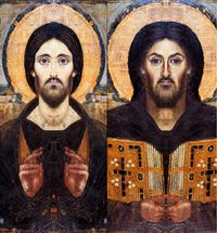 Christ Pantocrator - Mirror composites of the two sides of the face.