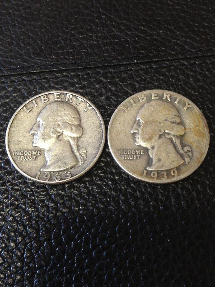1963-D & 1939-D U.S. 90% Silver Quarters $16.00