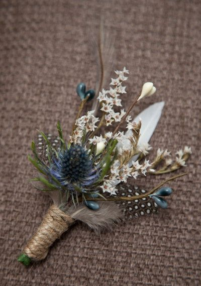 Buttonhole.   Mens Thistle and Feather by TinyBitMarvellous on Etsy,