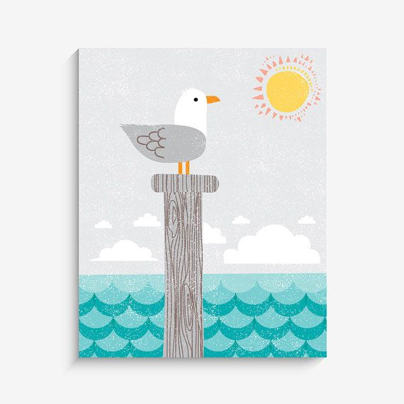Home Decor Nautical Seagull by LucyDarlingPrints