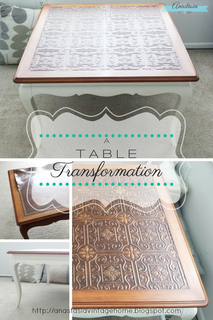 A Table Transformation | Anastasia Vintage A transformation of a vintage French Provincial table. Bottom is painted with chalk paint; you'll never guess what they used to replace the damaged leather top!
