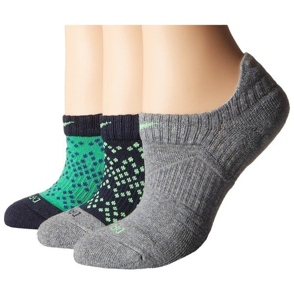 Nike Dri-Fit Graphic No Show 3-Pair Pack Women's No Show Socks ($20) ❤ liked on Polyvore featuring intimates, hosiery, socks, dri fit socks, nike and nike socks