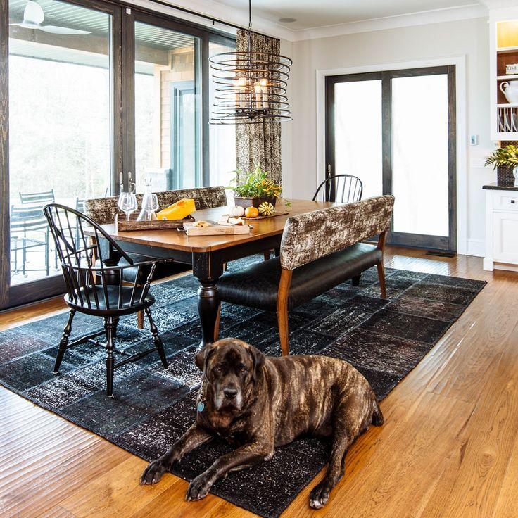 150 Pound Bull Mastiff is no match for Carlisle hand-scraped Hickory flooring.