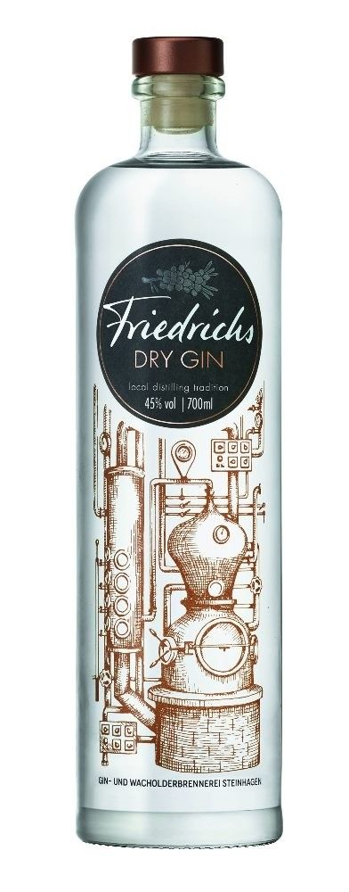 Gin von Friedrichs in der 0,7 Liter Flasche mit 45% Vol. Alc.