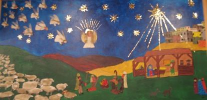 Jesu fødsel - Jesu fødsel med engle i himlen, hyrder og får på marken (Lukasevangeliet 2) og de Tre Vise Mænd på vej til stalden i Betlehem