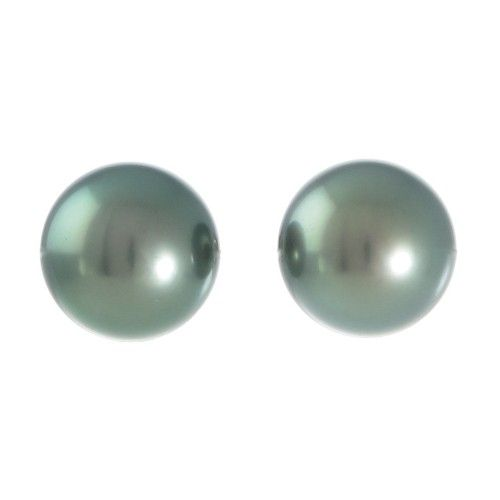 A pair of green semi round Tahitian pearl studs featuring pearls measuring 10mm with a high lustre and few natural surface marks set to 9ct white gold stud fittings. #RutherfordJewellery #Melbourne