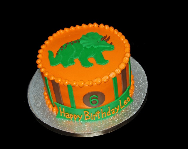 orange brown and green triceratops 6th birthday cake by Simply Sweets, via Flickr