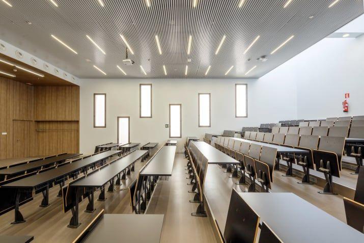 Considering Led Lighting For Classrooms Brighter May Lead To Better Futures School Building Design Auditorium Design Multipurpose Room
