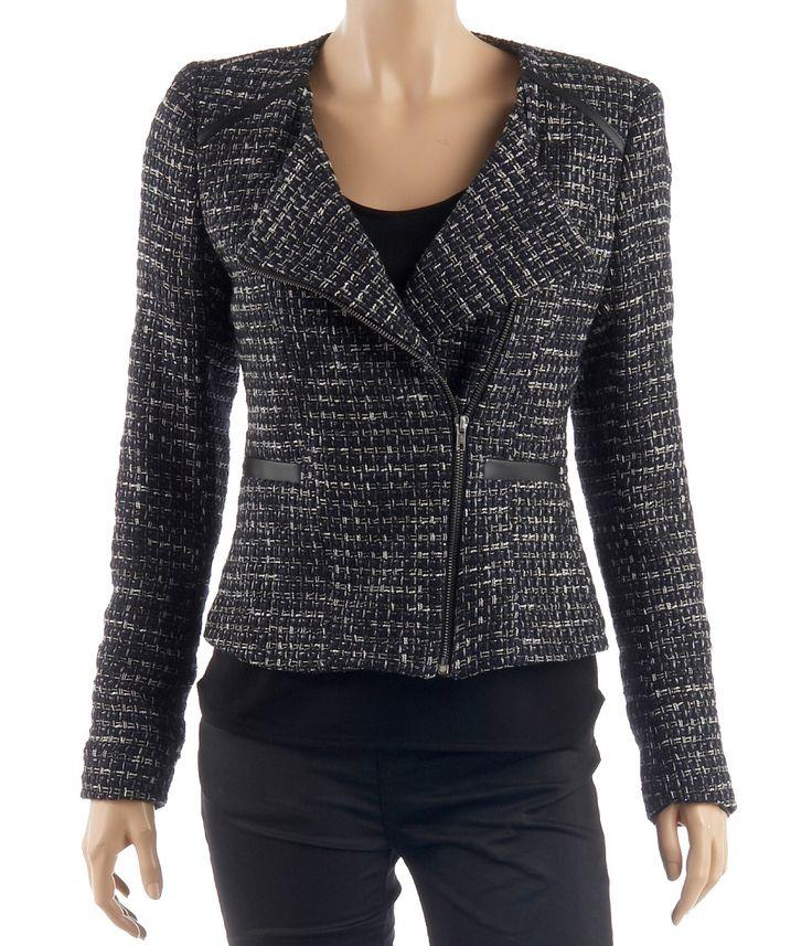 Achat Vestes et Manteaux femme - Veste femme en tweed décor faux cuir