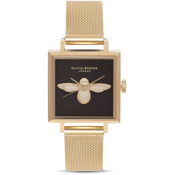 Olivia Burton 3D Bee Watch, 22.5mm ($255) ❤ liked on Polyvore featuring jewelry, watches, bumble bee jewelry, olivia burton, bee jewelry, olivia burton jewellery and yellow gold jewelry