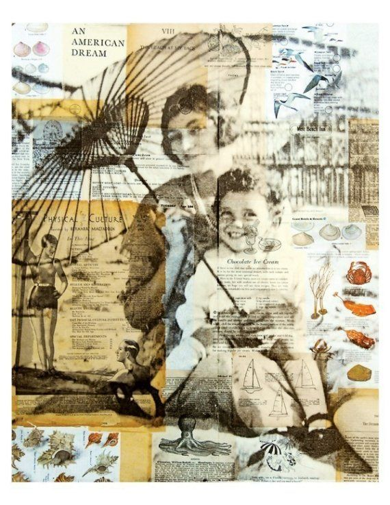 Coney Island PRINT, Michelle Caplan Mixed Media Collage