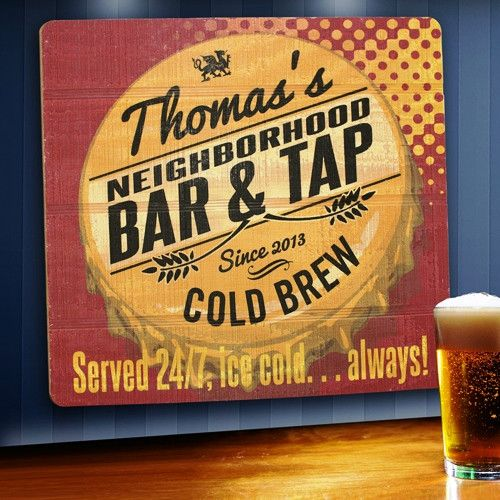 Wood Tavern and Bar Sign - Served 24/7
