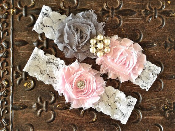 Blush Wedding Garter Wedding Garter Set Pink by TheRaggedDiamond, $20.00