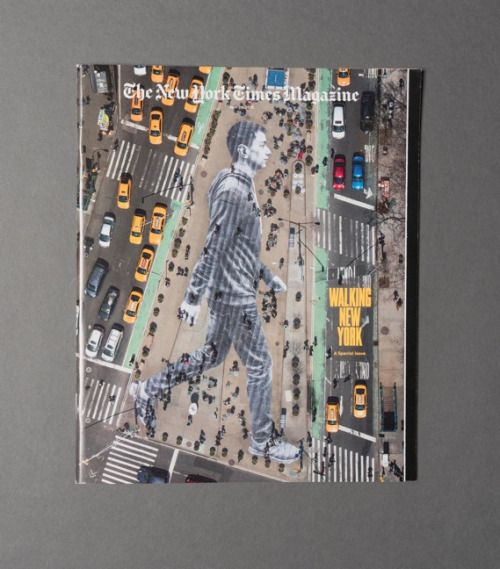 The latest cover for the New York Times Magazine may look like some Photoshop magic, but it's really a 150ft-tall image captured from a helicopter!  The design team from the NYT recruited street artist JR to paste a massive photo on the streets of New York City and photograph it from above. #thenewyorktimes #magazine #cover