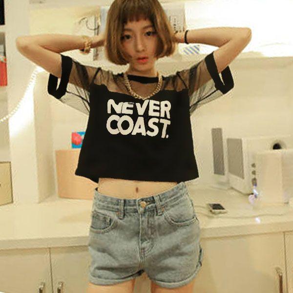 Women T-Shirt Crop Top Shirt Sleeve Mesh See-through Short Tops For