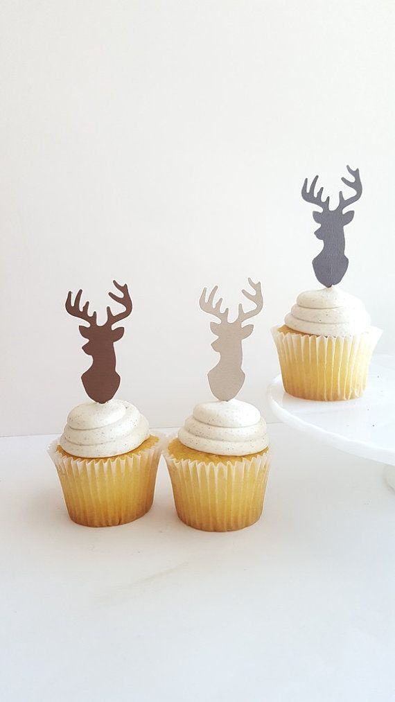 Stag Head Cupcake Toppers {Dozen} Antler Rack, Hunting Party Decoration, Birthday Party Decor, Baby Shower Theme Deer Head 4 COLORS
