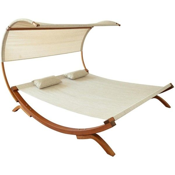 Leisure Season Wood Patio Sunbed With Canopy ($530) ❤ liked on Polyvore featuring home and outdoors