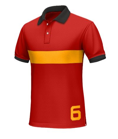 Spain Men's Polo Shirt - Show your loyalty to the current reigning champions, La Furia Roja, with this red polo.  Made from 100% cotton. This red polo has a yellow horizontal line across the chest. Both the collar and the hems are black. A number 6 has been added for more detail.  http://www.tailor4less.com/en/collections/custom-polo-shirts/world-cup-polo-collection/spain-mens-polo-shirt