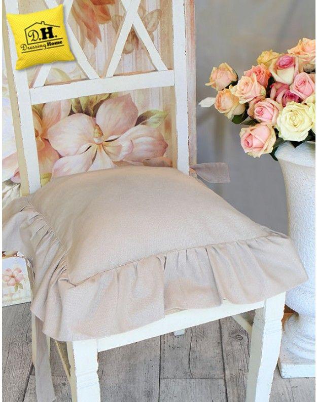 Copricuscino per sedia con gala Colore Polvere Blanc Mariclo