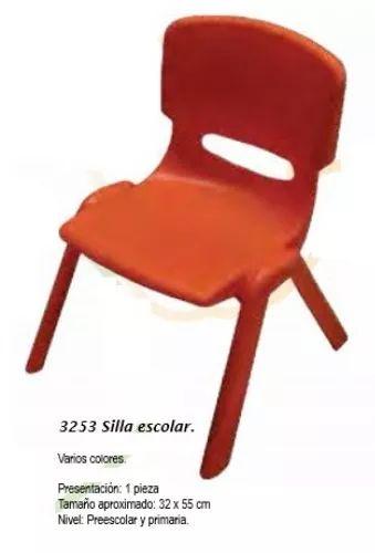 sillas infantiles escolares de colores en plástico 32x55cm