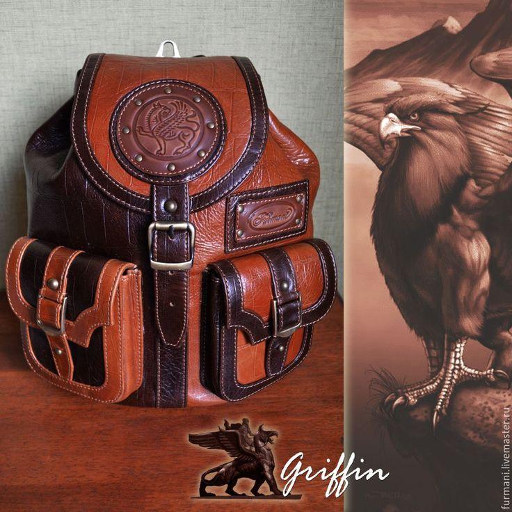 """Купить Рюкзак """"GRIFFIN"""" - коричневый, абстрактный, кожаный рюкзак, рюкзак мужской, стильный рюкзак"""