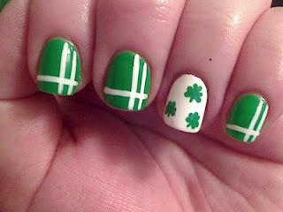 St Patrick's Day Nail Art.... I like the ring finger nail