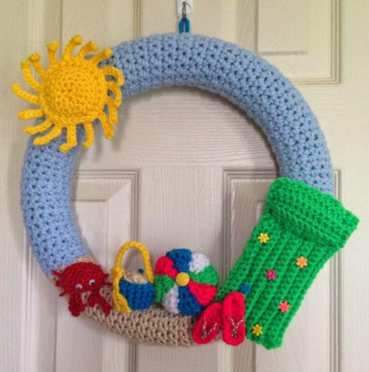 "Randi's Crafty Cricut Creations: My newest project a crocheted ""Summer Wreath"""