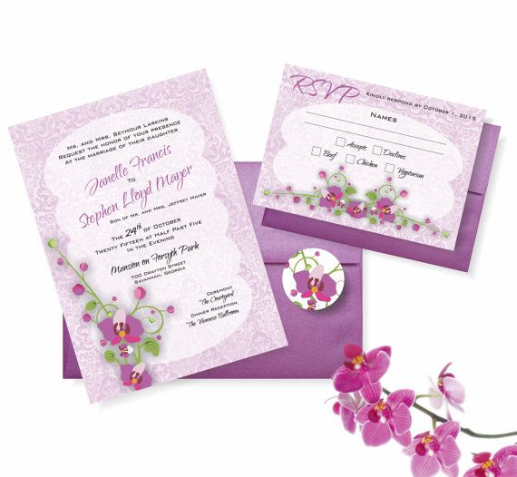 Radiant Orchid Wedding Invitation Suite 5x7 by AllisStudio on Etsy, $4.50