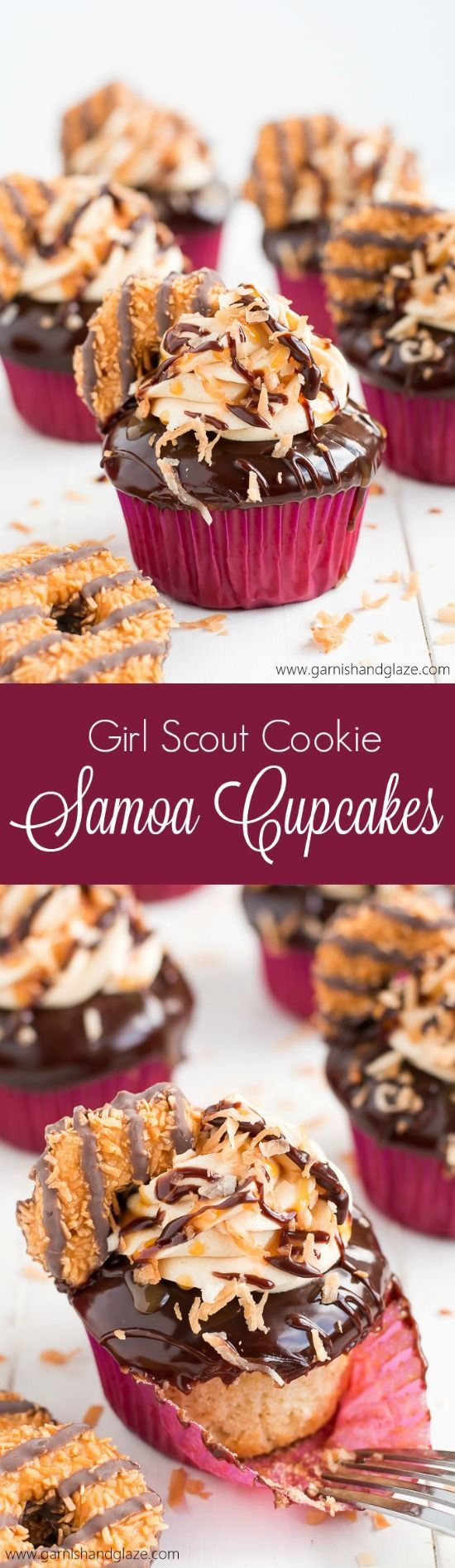 These Girl Scout Cookie Samoa Cupcakes are a rich chocolaty, caramel, and toasted coconut dream come true!