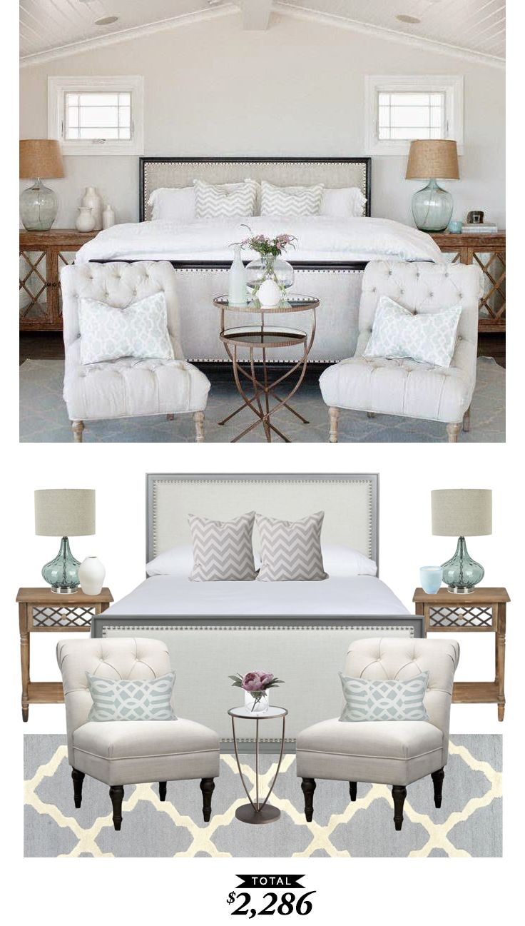 A serene beach house bedroom designed by @Becki_owens recreated for $2286 by @audreycdyer for Copy Cat Chic