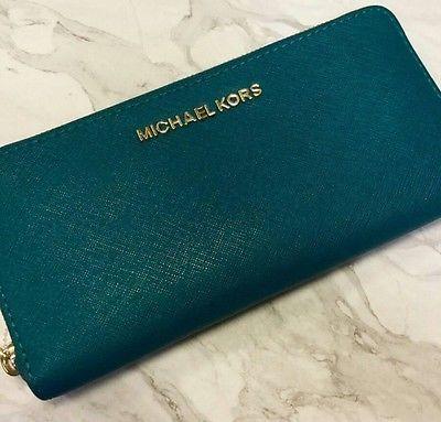Michael Kors Jet Set Travel Zip  Saffiano Teal Wallet $138
