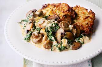 Creamy mushroom and spinach stroganoff   Recipe