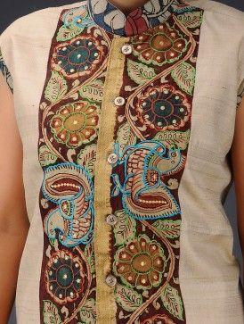 Beige-Multi-Color Cotton Embroidered Hand Painted Kalamkari Jacket