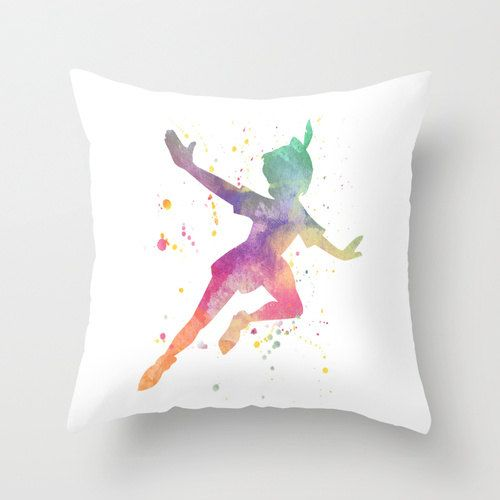 Peter Pan Watercolor Throw Pillow Cover 'Peter' by ShayItWithLove.  Etsy.