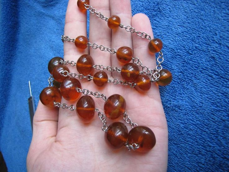 Natural Baltic Amber 52 gr Necklace round bead cognac Butterscotch 老琥珀 USSR #Handmade