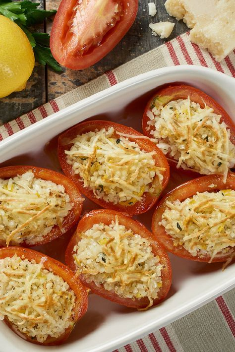 Stuffed Plum Tomato with Lemon and Garlic | Green Giant Riced Veggies Recipes | A nice and easy side dish for your dinner party.