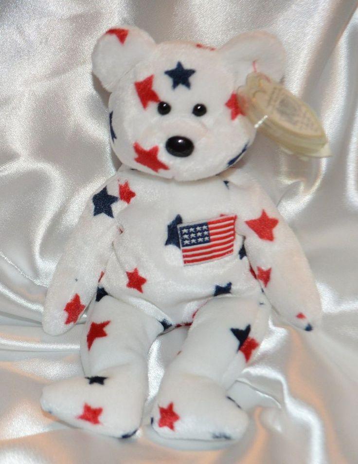 Ty Beanie Baby Glory Bear USA American Flag 4th of July Decor ...