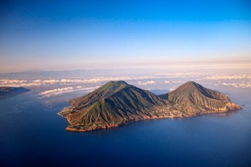 Aerial view of #Salina island, #Aeolian islands #Sicily Italy