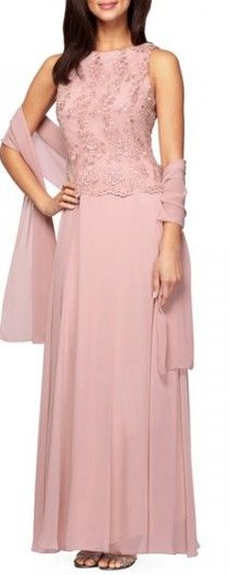 conservative blush gown with a chiffon cover perfect for a mother of the bride