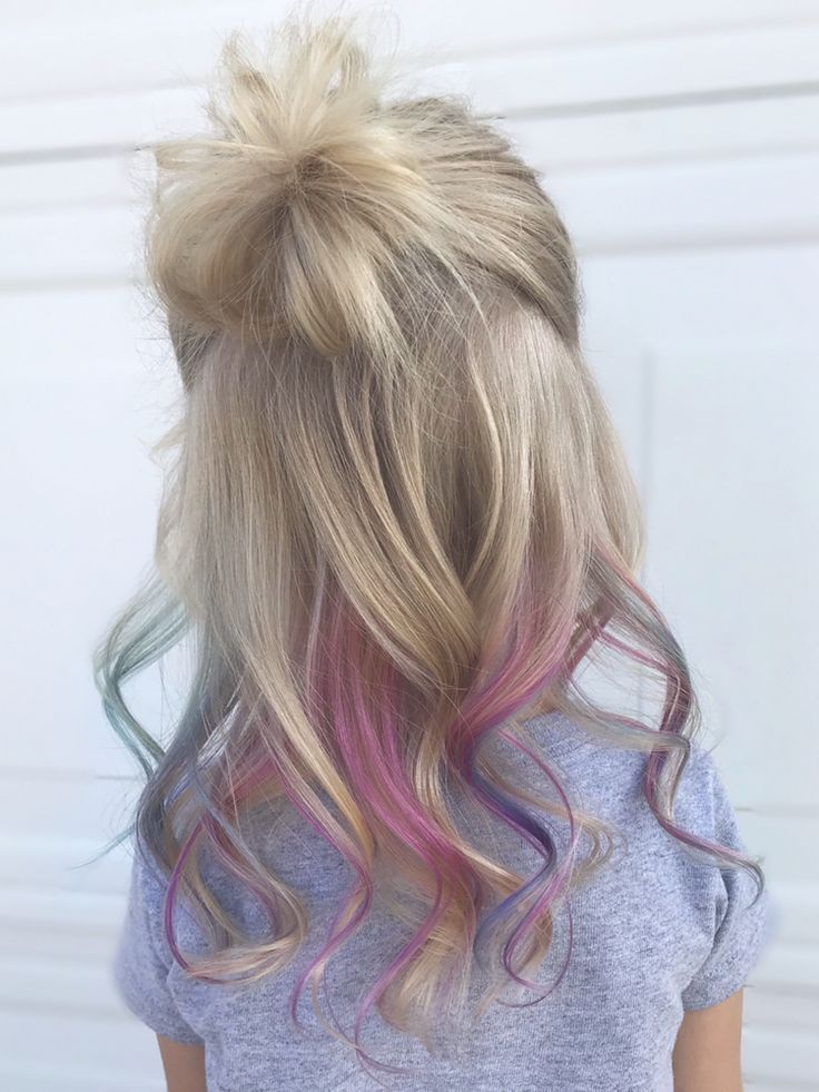 Little Girl Hair Color Pink Teal And Purple Peekaboos Little Girl Hairstyles Girl Hair Colors Kids Hair Color Hair Color Streaks