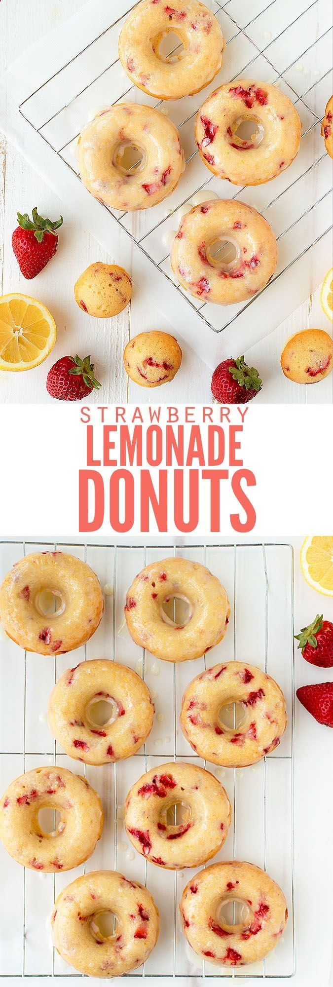 Delicious and easy recipe for baked strawberry lemonade donuts with lemon glaze. Skip the unhealthy cake mix and make this from scratch, sprinkles optional! :: DontWastetheCrumb...
