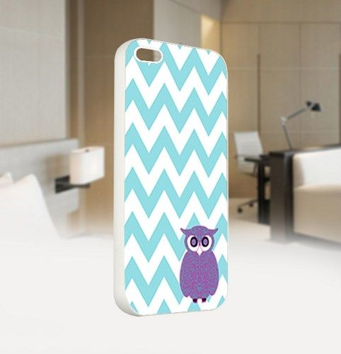 Owl Chevron Tiffany Teal - For IPhone 5 White Case Cover