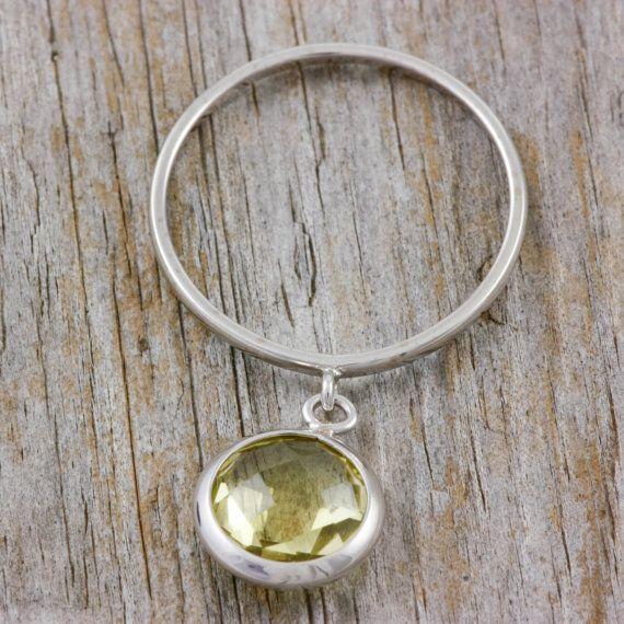 Lemon Quartz dangle gold ring 14K white gold by KyklosJewelryLab