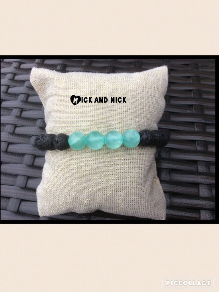 Valentines GIFT IDEA!Aromatherapy lava bead diffuser bracelet for essential oils- 8 mm turquoise glass beads by MickandNick on Etsy